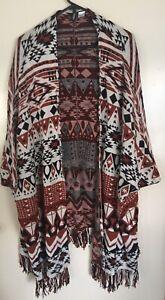 Designer H&M Divided Size L Aztec 100% Cotton Tasseled Open  Cloak / Kimono