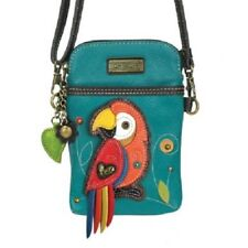 Chala RED PARROT Cell Phone Purse Crossbody Pleather Convertible Turquoise Blue