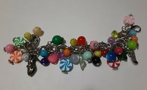 """NEWLY BEADED COLORFUL STAINLESS STEEL GIRLIE """"CANDY"""" BRACELET WITH 36 CHARMS"""