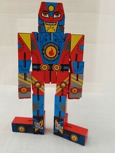 Wooden Transformer Transform it Robot - Fire Engine Used.