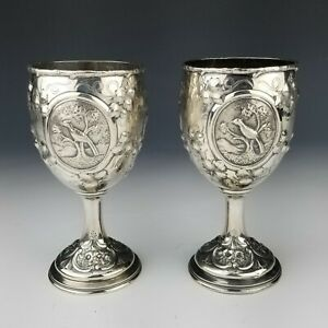 Pair of American Coin Silver Repousse Chalice Cups