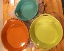 Technique Set of 3 Round Ceramic Bakers - Citrus/Teal/Green - New