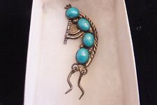 WILL DENETDALE SIGNED NAVAJO STERLING SILVER TURQUOISE KOKOPELLI PENDANT PIN