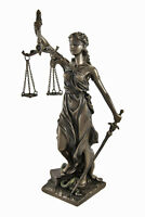 Bronzed La Justicia with Scales and Sword Statue 8 In.
