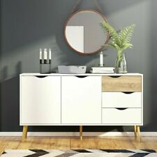Oslo Retro Spindle Style Sideboard - Large - 3 Drawers 2 Doors in White and Oak