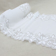 1 Yard White Floral Scalloped Stretch Lace Trim For DIY Craft Lingerie Wide 10""
