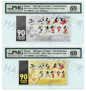 MICKEY MOUSE 90TH ANNIVERSARY - SILVER & GOLD COIN NOTE - PMG 69 FIRST RELEASES