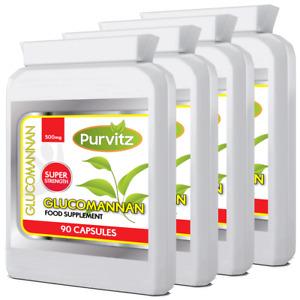 Glucomannan Konjac Fibre 360 Capsules 500mg Appetite Suppressant Feel Full Pills