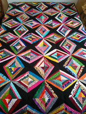 Beautiful Diamond Star Pattern Quilted Hand Made Small Twin/Large Throw Quilt