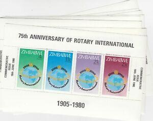 Zimbabwe 1980 75th Anniversary Of Rotary International Mini Sheet x 9 J9020