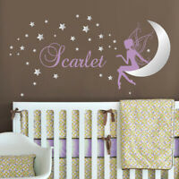 Fairy Wall Decal Baby Girl Room Stars Moon Wall Sticker Personalized Name Decal