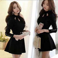 Korean Elegant Women's Spring Autumn Fashion Slim Long Sleeve Black Mini Dress