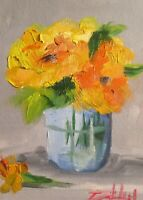 Yellow flowers vase still life collectible art 7x5 oil painting art Delilah