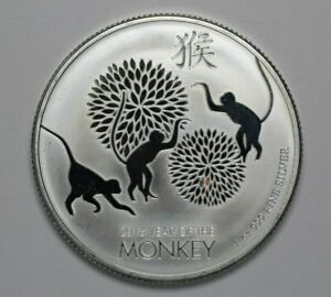 2016 $2 Niue Year of the Monkey 1oz .999 Silver Mint UNC - 191358A