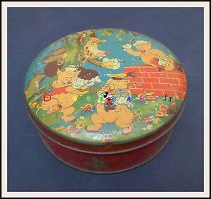 ⭐ THREE LITTLE PIGS AND WOLF English Disney Tin box  - 1930s - DISNEYANA.IT ⭐
