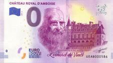 37 AMBOISE Château 2, 500 ans de la mort de Léonard, 2019, Billet 0 € Souvenir