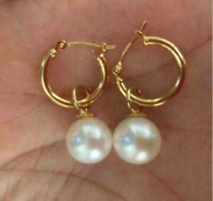 PERFECT AAA 9MM South Sea White Round Pearl Dangle Earrings 14K GOLD