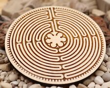 Chartres labyrinth wooden coaster, sacred geometry coaster