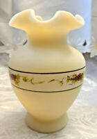 "Vintage Cameo Satin Fenton Glass Ruffled Edge 6 1/4"" Vase HP Grapes Signed"