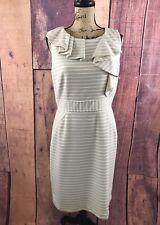 b11c41598c0 Antonio Melani Women s Dress Sheath Career Sleeveless Striped Beige   White  Sz10