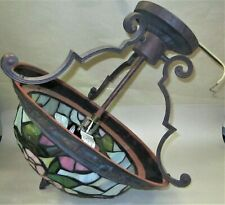 Tiffany Style Hanging Pendant Light Fixture ~ Birds, Flowers & Berries