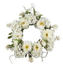 Nearly Natural 4690 Peony Hydrangea Wreath- 20-Inch- White