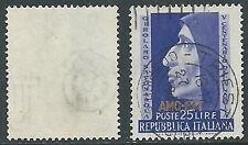 1952 TRIESTE A USATO SAVONAROLA FILIGRANA LETTERA - L2