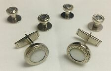 NEW Mens Silver/Pearl White Embossed Cuff Links & Shirt Studs Western Bullet Tux