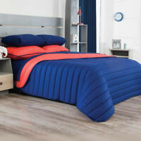 Ultramar Solid Navy Coral Comforter Double Sided Set New Boys Teens Home Bedding
