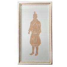 Chinese Paper Cutting Framed Scherenschnitte Man Warrior Vtg Asian Wall Art