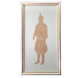 Chinese Paper Cutting Framed Scherenschnitte Man Warrior Vtg Asian Wall Art