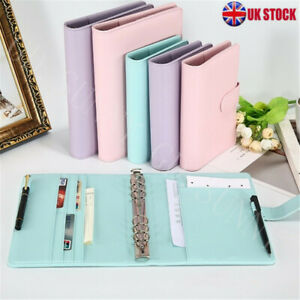 A5/A6 Leather Loose-Leaf Ring-Binder-Notebook Macaron Colour Planner Diary