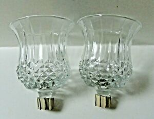 2 Homco Clear Glass Diamond Point Ribbed Votive Cups
