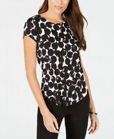 Alfani Womens Knit Top White Black Pink Size XL Scoop-Neck Printed $39 081