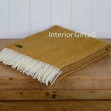 KNEE RUG / SMALL THROW Pure New Wool ANTIQUE GOLD Herringbone Chair Blanket