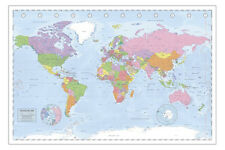 Political World Map Miller Projection XXL Poster + 1 gratis Ü-Poster