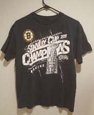NHL Reebok Boston Bruins 2011 Stanley Cup Champions Black T-Shirt Mens Sz Medium