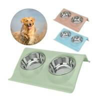 Double Dog Bowl Pet Feeding Station Stainless Steel Water and Food Bowls Feeder