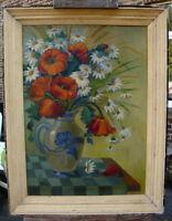 Blumen Stillleben Mohn Margeriten Krug Oel auf Holzplatte O Vaupet Jugendstil