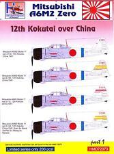 H-Models Decals 1/72 MITSUBISHI A6M2 ZERO 12th KOKUTAI OVER CHINA