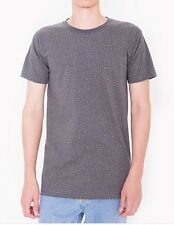 American Apparel Printed XTall Tall Tee Gray Asphalt Slime Green Speckle L NEW