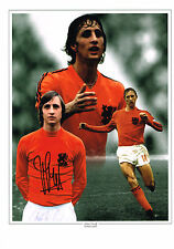 Johan Cruyff HAND SIGNED Autograph Football Legend 16x12 Photo Montage AFTAL COA