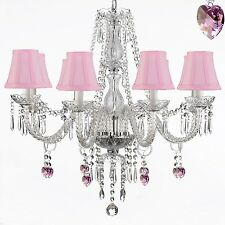 Crystal Chandelier Lighting 28X28 Fixture 8 Light Pendant Lamp Pink Shades Heart