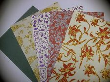 5 sheets of A 4 size Handmade Paper - Glittery Patterned for Wedding Crafts