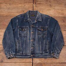 "Mens Vintage Wrangler Blue Authentic Denim Trucker Jacket Large 46"" R5742"