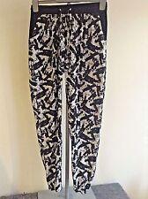 ATMOSPHERE Black & White Harlem Pants Elasticated Waist & Ankles Pockets Size 10