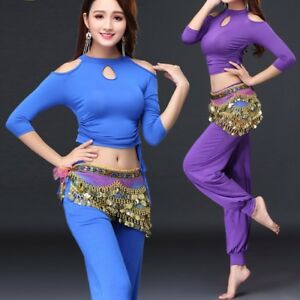 NEW size 8-18 Belly Dance Yoga Top Soft Stretchy Cotton Midriff Dancing Wear
