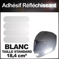 Kit 4 bandes stickers standard rétro réfléchissants casque moto REFLECTIVE BLANC