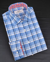 Blue Checkered Formal Business Dress Shirt Stylish Design Floral Luxury Fashion