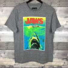 JAWS Spellout Men's Graphic Tee Size M Heather Gray Shark Bait Swim Up T-Shirt